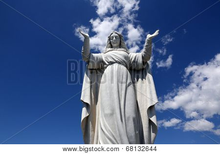 SANTA MARGHERITA TOWN, LIGURIA, ITALY - MAY 04: Statue of St. Margaret, patron of the city after which it was named, on May 04, 2014 in Santa Margherita town, Liguria, Italy.