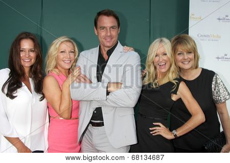 LOS ANGELES - JUL 8:  Tanya Memme, Kym Douglas, Mark Steines, Sophia Uliano, Cristina Ferrare at the Crown Media Networks July 2014 TCA Party at the Private Estate on July 8, 2014 in Beverly Hills, CA