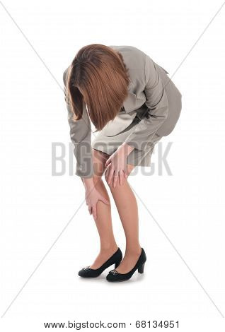 Business Woman With A Leg Injury