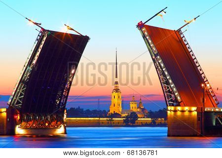 St .Petersburg,  Russia,  Palace Bridge and Peter and Paul Fortress