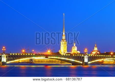 St. Petersburg, Russia ,Troitsky Bridge and Peter and Paul Fortress