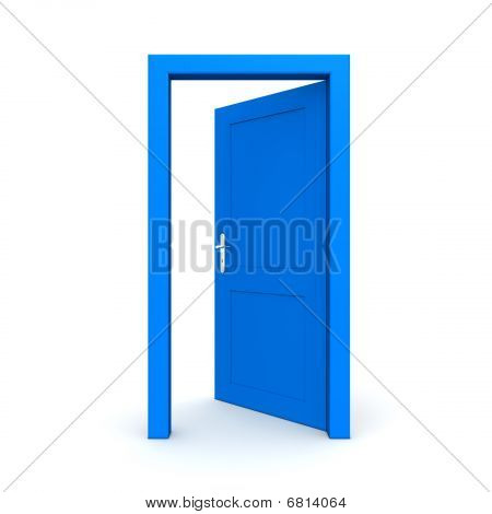 Open Single Blue Door