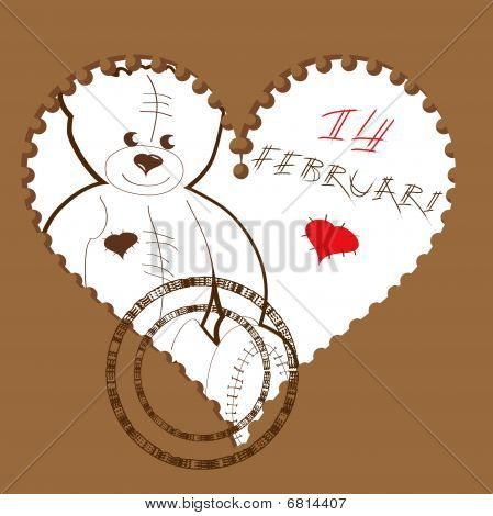 Valentine's heart with teddy