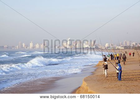 Early Morning Fishermen At Durban's Blue Lagoon Beach
