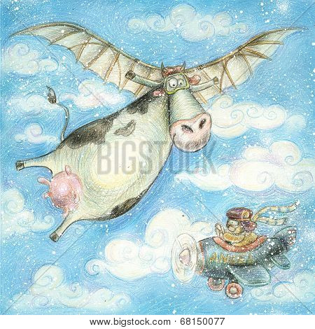 Cute flying cow..Vintage background.Children illustration. Cartoon childish background in vintage co