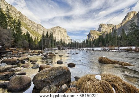 River Level View On Yosemite Valley