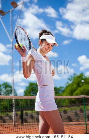 Female Playing Tennis