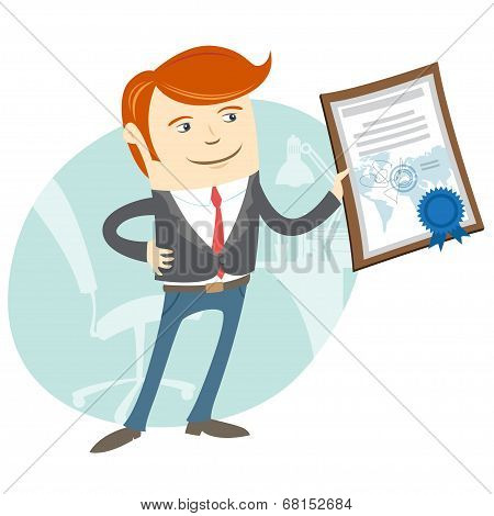Office Man Showing A Diploma