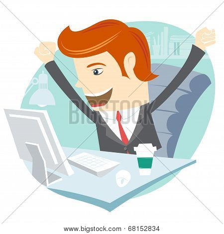 Happy Office man sitting at his working desk