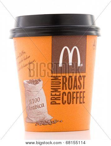 Ankara, Turkey - June 07, 2012: McDonalds coffee cup McCafe isolated on white background