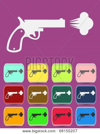 Shot from a revolver icon. Vector illustration