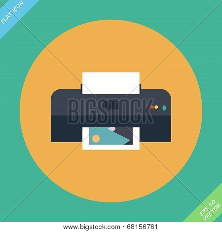 Vector Printer Icon - vector illustration.