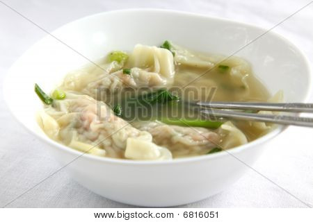 Traditional Chinese Dumpling Soup