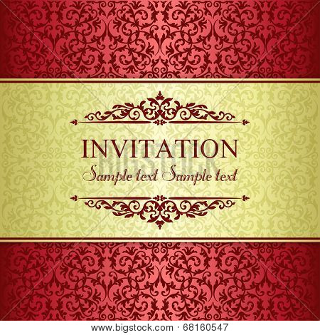 Baroque invitation, gold and red