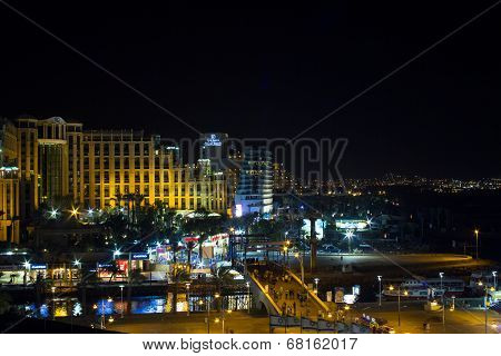 View On The Aqaba Gulf And Eilat City At The Evening , Israel