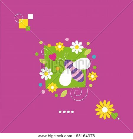 cute bee and flowers greeting card