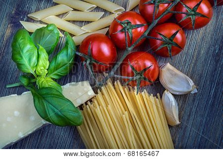 Some ingredients of Italian cuisine.