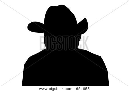 Cowboy Silhouette With Clipping Path