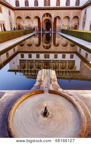 Alhambra Courtyard Myrtles Fountain Pool Reflection Granada Andalusia Spain