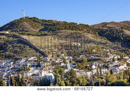 Granada Cityscape Wall Buldings Green Mountain Andalusia Spain