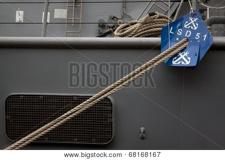 NEW YORK - MAY 22: The port side mooring lines of the amphibious dock landing ship USS Oak Hill (LSD 51) at Pier 92 during Fleet Week NY on May 22, 2014.