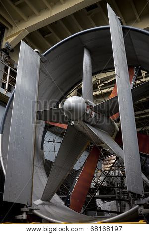 NEW YORK - MAY 22: The blades of an LCAC, air cushion landing craft, used to transport equipment and personnel, on the well deck of the amphibious dock landing ship USS Oak Hill (LSD 51) at Pier 92.