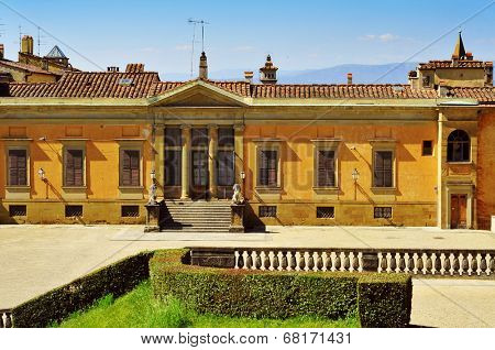 back view of Palazzo Pitti, facing Boboli Gardens, in Florence, Italy