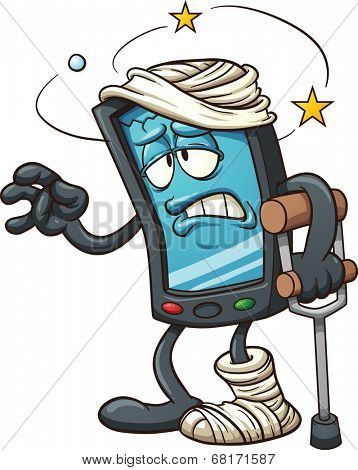 Cartoon broken smart phone. Vector clip art illustration with simple gradients. All in a single layer.