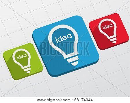 Idea In Light Bulbs Signs In Flat Blocks