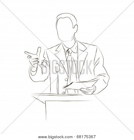Doodle orator. Sketch.