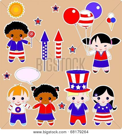 Fourth of July Set of children images. All images are separated