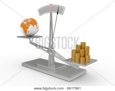 Escalas com dinheiro e a terra