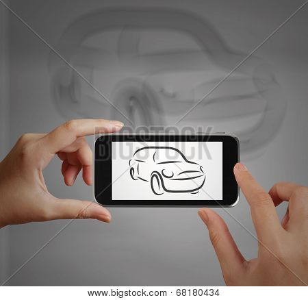 Smart Hand Using Touch Screen Phone Take Photo Of  Car Icon As Concept
