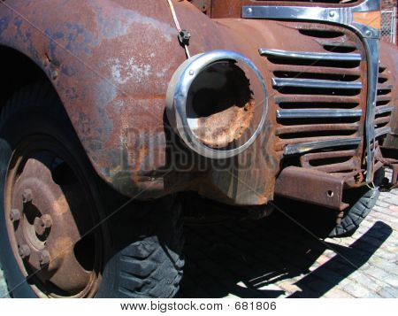 Fender Of Old Rusty Car