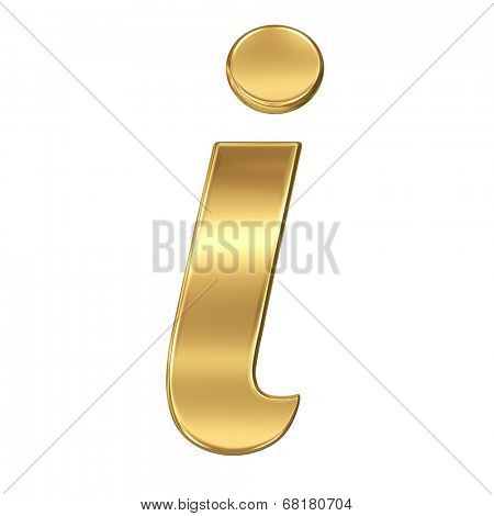 Golden shining metallic 3D symbol letter i - lowercase isolated on white.
