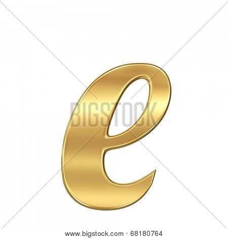 Golden shining metallic 3D symbol letter e - lowercase isolated on white.
