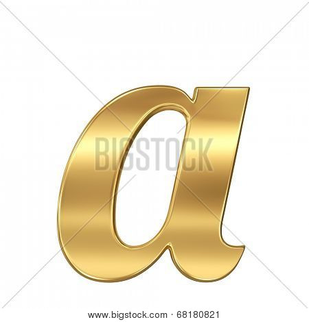 Golden shining metallic 3D symbol letter a - lowercase isolated on white.