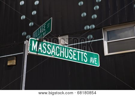 Massachusetts Street Sign, Cambridge, Ma