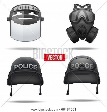 Set of Police helmets and mask. Vector Illustration.