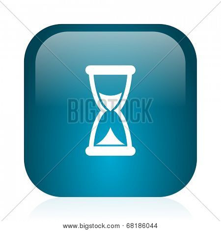 time blue glossy internet icon