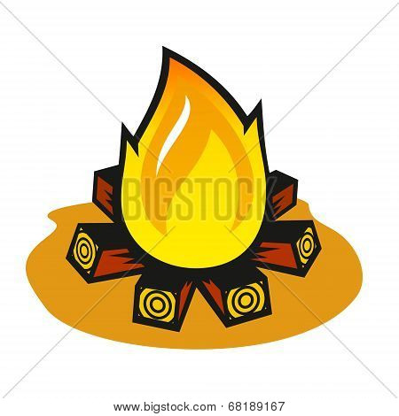 Vector Fire On A White Background
