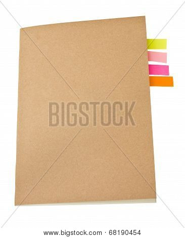 Notebook blank cover colorful sticky notes inside.