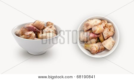 fresh galangal in a bowl