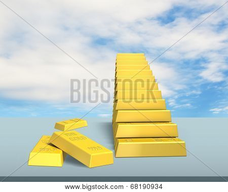 Stacking Bullion In Stairs Shape On Desk
