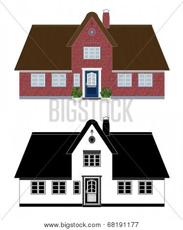 Thatch roof cottage, Frisian style. Vector illustration of northern European cottage with thatched roof, color and black and white version. No gradients.