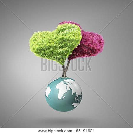 Small peaceful green planet (NASA) globe in his hand. Extremely detailed image including elements furnished by NASA