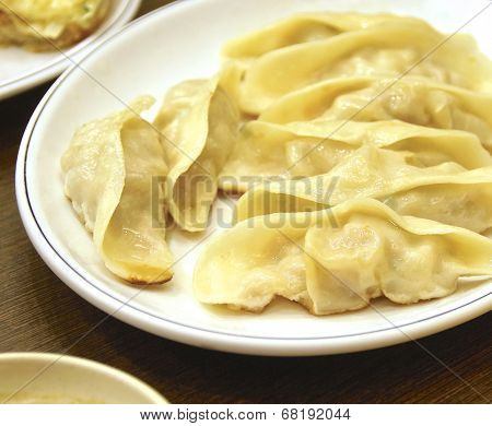 The closeup of fried dumplings