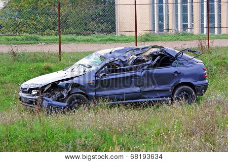 Destroyed Car In Accident