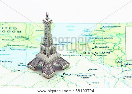 Statue Of Eiffel Tower On Map