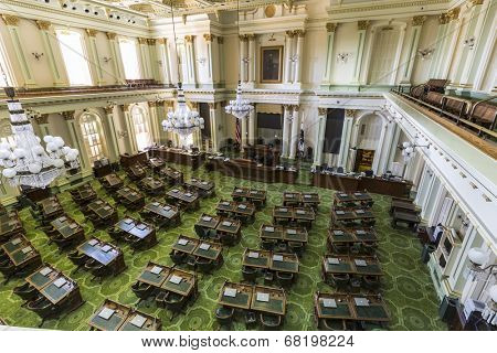 Sacramento, California, USA - July 4, 2014:  Interior of the California State Legislature meeting room in the state capitol building in Sacramento, California.